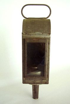 Antique c.1860 Peg Leg Tin Candle LANTERN Early PRIMITIVE LAMP Carrying HANDLE