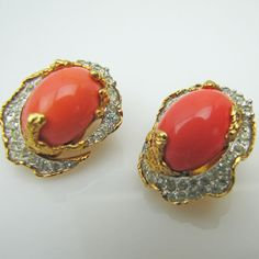 Jomaz Mazer Coral & Diamante Earrings. Duck Egg Dome Cabochons. Pave Set Clear Crystal Rhinestones. Gold Plated Vintage Designer Jewelry