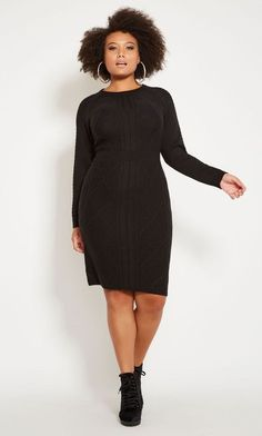 c214c49ec Black Long Sleeve Sweater Dress Plus Size Bodycon - Made in a soft sweater  knit,