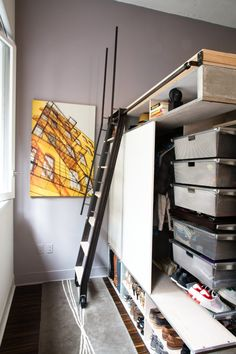 """Tiny apartments need clever, space-saving solutions. And that's what this San Francisco """"loft"""" system is all about. The apartment layout allows two bedrooms, a TV area, study area and wardrobe to all be squeezed into the teeny space Micro Apartment, Tiny Apartments, Loft Spaces, Small Spaces, Loft Design, House Design, Loft Apartment Decorating, Apartment Layout, Tiny Loft"""