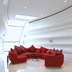 Modern Living Room Furniture With Curved Red Sofas Design