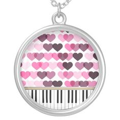 Piano Keys Pink Love Hearts Pattern Necklaces