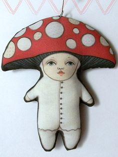 Christmas Mushroom Ornament--  Original Folk Art Doll-- Printed, Sewn, and Stuffed Fabric