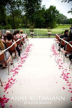Petal Lined Aisle by Anne Ruthmann, via Flickr. Urns with branches and roses. Hrmmm.
