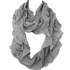 Elegant Light Gray Soft Woven Infinity Loop Figure Eight Endless Scarf Wrap   One of the popular items of this season, the Infinity Scarf is an easy wrap for a cool evening or a great color accent.. Elegant wrap for a cool evening or a color accent, our Shawl Scarf Wrap is made of wool blended with viscose. Unique understated woven ruffle design pattern allows to wear it as a scarf over you  sweater or suit, a luxurious addition to an evening dress, or just the classic li...