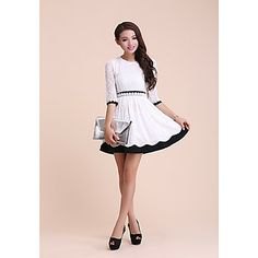 Alfa Women's Fashion Ol Round Collar Lace Embroidery 1/2 Length Sleeve Dress(White) – USD $ 29.99