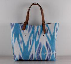 Big Size Ikat Bag Turquoise Blue Bag Beach Bag by TheOrientBazaar, $270.00