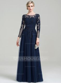 A-Line/Princess Scoop Neck Floor-Length Beading Sequins Zipper Up Sleeves Long Sleeves No 2016 Dark Navy General Plus Tulle Mother of the Bride Dress