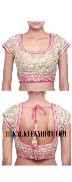 Buy online at: http://www.kalkifashion.com/beige-blouse-embellished-in-resham-and-zari-emboridery-only-on-kalki.html Free shipping worldwide.