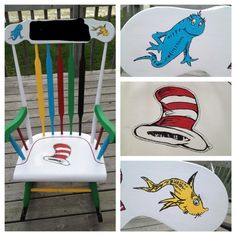 I painted a Dr. Seuss rocking chair for the baby's room! Bought the chair off of Craig's List for $20. Sanded it and painted it with craft paints from Hobby Lobby that were $2.99 for each large bottle! (blacked out the name of the baby located at the top of the chair because we were keeping it a secret). :)
