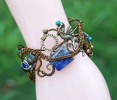 Dragon Treasure World Bracelet Wire Wrap Assemblage Cuff Bracelet Lapis Lazuli #jeanninehandmade #Wrap