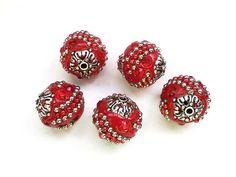 1 Indonesia rosso argilla perla gioielli forniture e di LoveTimes3, $1.25