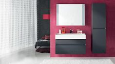 Salle de bain rose gris zingué design épuré