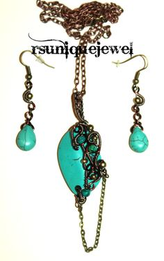 Wire Wrapped Turquoise Pendant and Earrings Set by rsuniquejewel Turquoise Pendant, Turquoise Necklace, Wire Wrapping, Earring Set, Pendant Necklace, Drop Earrings, Handmade, Stuff To Buy, Etsy