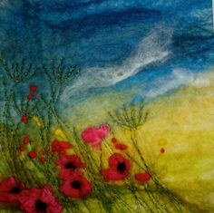 Original Hand Made Felt 'Painting' poppy field Wet Felting Projects, Felt Wall Hanging, Felt Pictures, Wool Art, Thread Painting, Landscape Quilts, Felt Patterns, Silk Ribbon Embroidery, Wool Applique