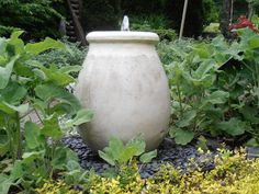Tuscan Oil Jar. Old Europe Styling. Featured in Southern Living in 2011.  Come see along the Garden Walk here at Southern Grace. Video of this fountain on our web-site. We Ship 540 948-2239