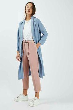 Blush pants with powder blue coat