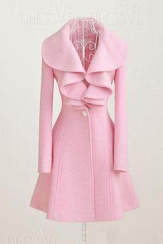 PINK PINK PINK! Fashion Slim Autumn Long Ruffled High Quality Wool Overcoat