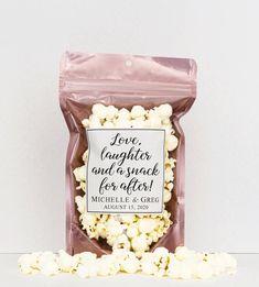 Popcorn Wedding Favors, Wedding Snacks, Popcorn Favors, Wedding Favor Bags, Best Wedding Favors, Candy Favors, Wedding Candy, Wedding Favors For Guests, Wedding Cookies