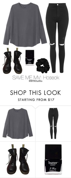 """""""Save Me MV: Hoseok"""" by btsoutfits ❤ liked on Polyvore featuring Monki, Topshop, Dr. Martens and Butter London"""
