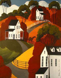 Original Painting Folk Art Landscape Brown Horse Country Primitive Autumn Fall | eBay
