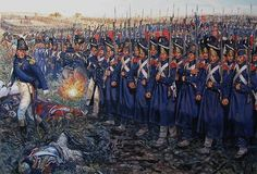 The attack of the Imperial Guard at Waterloo. Rys. Giuseppe Rava.