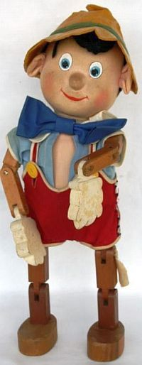 WALT DISNEY JOINTED WOODEN PINOCCHIO DOLL BY RICHARD G. KRUEGER, ALL ORIGINAL.