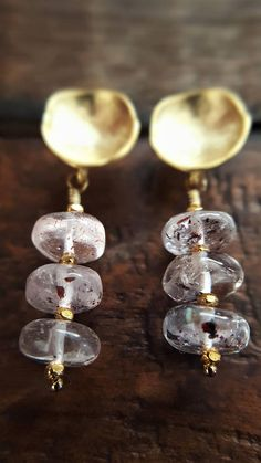 Gold Lepidochrocite Dangle Earrings Real Lepidochrocite