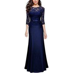 Miusol Women's Retro Floral Lace 2/3 Sleeve Slim Peplum Formal Long Dress, Size Medium, Navy Blue