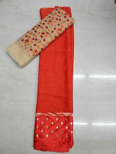 Saree with blouse with satin border mirror on it