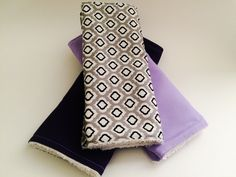 A personal favorite from my Etsy shop https://www.etsy.com/listing/280700430/purple-burp-cloth-set