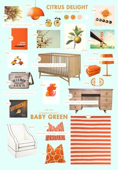 Gorgeous neutral orange nursery from LayBabyLay. All of the orange reminds me of Florida. If there was only a way to add in pink flamingos!