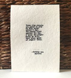 Typewriter Poems Toronto In December Poem by Christy Ann Martine - Typed Poetry   #christyannmartine
