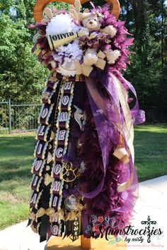 """Mega Deluxe Double mum with aubergine details and custom cut lettering. Oh, what """"Cheer"""" Fun it was to create for Olivia. Homecoming Mums Senior, High School Homecoming, Homecoming Garter, Homecoming Spirit, Homecoming Dance, Homecoming Ideas, Senior Year, Football Mums, Football Wreath"""