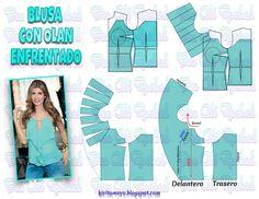 KiVita MoYo : BLUSA CON OLAN ENFRENTADO Blouse Patterns, Clothing Patterns, Pattern Draping, Modelista, Easy Sewing Patterns, Pattern Cutting, Sewing Clothes, Dressmaking, Pattern Fashion