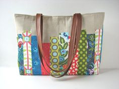 Large Tote Bag in Patchwork with Linen and Brown Faux Leather by bluecalla Patchwork Fabric, Patchwork Bags, Amy Butler Fabric, Natural Linen, Bag Making, Cotton Canvas, Fabric Design, Diaper Bag, Purses