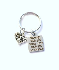daughters key chain Customize with names Family Heart Keychain Father Mom initials,- Gift for Groom Daddy Husband Friends, Mom