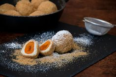 Sweet dumplings filled with apricots and a coating of crunchy caramalised breadcrumbs Apricot Season, Dumpling Filling, Sweet Dumplings, Fruit Jam, Dessert Recipes, Desserts, Nutella, Oreo, Sweets