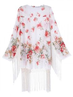 White Floral Sunscreen Kimono Coat With Tassel | Choies