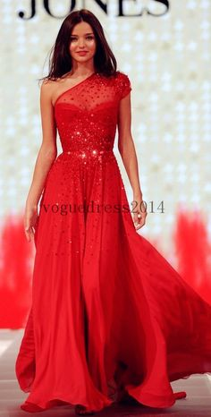 Red Long Dresses A-line Beaded Sequined Short Sleeves Prom Dress One Shoulder Sheer Chiffon Party Dress Chiffon Evening Dress long  #promdress