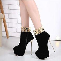 Zapatos-De-Fiesta-para-mujer-Tacones-Altos-recortes-Botas-al-Tobillo-De-Cuero-Cremallera-Mujer
