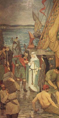 The Landing of St. Margaret at Queensferry (St. Margaret of Scotland) - William Hole, Saints Collection St Margaret Of Scotland, Medieval Life, Fairytale Art, Catholic Saints, Anglo Saxon, Picts, Art Graphique, Religious Art, Illustration Art