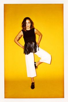 The Advanced CulotteEmily Holland, styling director Zara Fringed Faux Suede Top, $69.90, available at Zara; Proenza Schouler High Waist Leather Culottes, $2450, available at Proenza Schouler; Sandro Amoureuse Metal Plated Derby shoe, $362, available at Sandro.