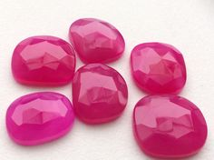 Pink Chalcedony Pink Flat Back Cabochons Faceted by gemsforjewels