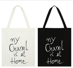 Doodle Chan*l tote bag (2 colors)