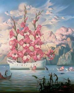 Vladimir Kush Arrival of the Flower Ship painting for sale - Vladimir Kush Arrival of the Flower Ship is handmade art reproduction; You can shop Vladimir Kush Arrival of the Flower Ship painting on canvas or frame. Vladimir Kush, Salvador Dali Gemälde, Salvador Dali Paintings, Surrealism Painting, Painting Art, Oil Paintings, Famous Flower Paintings, Modern Surrealism, Amazing Paintings