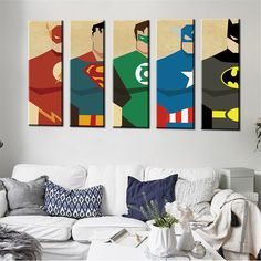 Oil Painting Watercolor Art Poster Hipster Wall Picture Cartoon Superheros