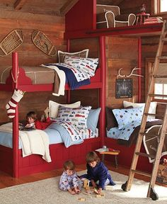 Triple bunk bed -- I like the loft idea, too, but I think I'd put a railing along it!  And I think I'd do built in shelves under the loft instead of completely boxing in the corner and losing all that space.