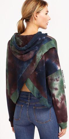 Multicolor Tie Dye Print Overlap Back Drawstring Hooded Sweatshirt