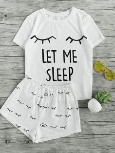 Shop Closed Eyes Print Tee And Shorts Pajama Set online. SheIn offers Closed Eyes Print Tee And Shorts Pajama Set & more to fit your fashionable needs. Cute Pyjama, Cute Pajama Sets, Cute Pjs, Pajama Outfits, Lazy Outfits, Pajama Shorts, Cute Outfits, Women's Shorts, Sport Shorts